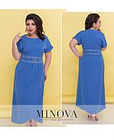 Элегантное приталенное платье-макси с короткими рукавами и подолом на запах ТМ Minova  р.50-56