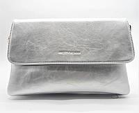 Стильная сумка-клатч женская Pretty woman серебристого цвета на плечо PRT-782381 (большая)