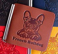 Затиск для грошей Французький Бульдог з натуральної шкіри Колір коричнево-цегляний, фото 1