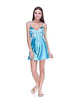 Атласная ночная сорочка бирюзового цвета с кружевом Серенада(Serenade) 882