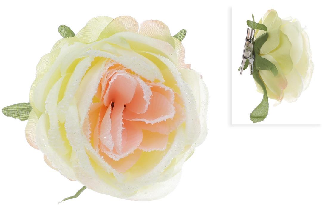 b71d22eca984 Купить Декоративный цветок Роза на клипсе, кремовый в снегу оптом 45 ...