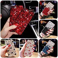 """XIAOMI Mi 8 lite оригинальный чехол накладка бампер панель со стразами камнями на телефон """"LUXURY ROCK"""""""