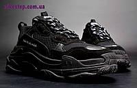 Кроссовки Balenciaga Triple S мужские черные полностью, фото 1
