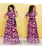 Нарядное платье-макси под пояс с короткими рукавами-фонариками размера ТМ Minova р.48-56