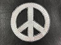 Нашивка  на одежду хиппи цвет серебро 100х100мм
