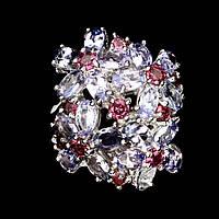 Серебряное кольцо с танзанитами 5мм * 3мм и родолитом