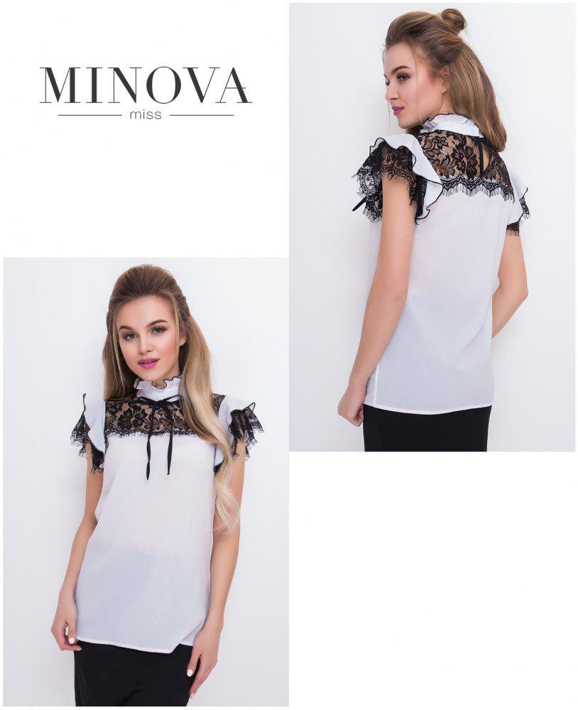 Нарядная свободная блузка с кружевом Производитель Одесса Прямой поставщик ТМ Минова р.42.44.46