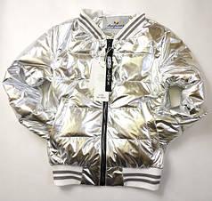 Подростковая демисезонная куртка бомбер для девочки серебро 134р.-158р. 3800