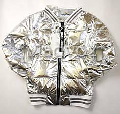 Подростковая демисезонная куртка бомбер для девочки серебро 9-10 лет
