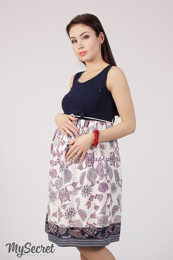 ee90726487250a Летний сарафан для беременных и кормления TONIA, темно-синий  трикотаж+штапель - Интернет