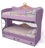 Кровать двухъярусная Cn-12 Cinderella лиловый + ящики маленькие