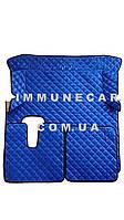 Автомобильные ковры из эко-кожи MAN TGX АКП синего цвета в кабину Т01