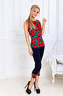 Женский коттоновый костюм с бриджами, в расцветках