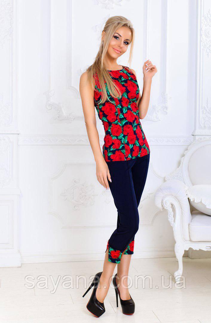 13d188e2316 Женский коттоновый костюм с бриджами в расцветках. ПН-30-0717 - Оптово-