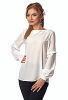 Женская блуза молочного цвета с длинным рукавом. Модель 415, коллекция весна-лето 2018