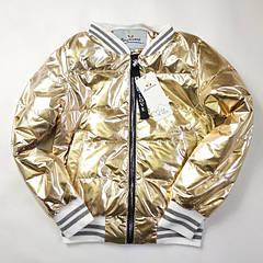 Подростковая демисезонная куртка бомбер для девочки золото 134р.-158р. 3801