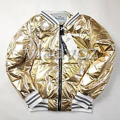 Подростковая демисезонная куртка бомбер для девочки золото 9-10 лет