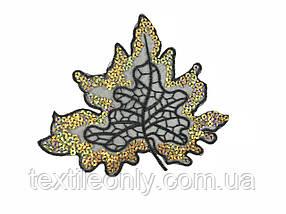 Нашивка кленовий листочок з паєтками колір чорний з золотом 140x175 мм