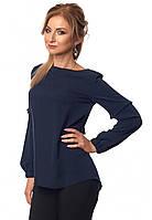 Женская блуза темно-синего цвета с длинным рукавом. Модель 415, коллекция весна-лето 2018