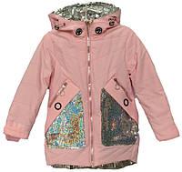 """Куртка детская демисезонная """"Miliyana"""" #821 для девочек. 4-5-6-7-8 лет. Розовая с пайетками. Оптом., фото 1"""