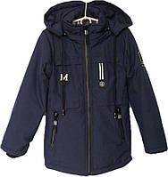 """Куртка подростковая демисезонная """"JieKei"""" #1717 для мальчиков. 10-11-12-13-14 лет. Темно-синяя. Оптом., фото 1"""