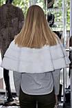 Хутряна накидка на плечі з білої норки, фото 3