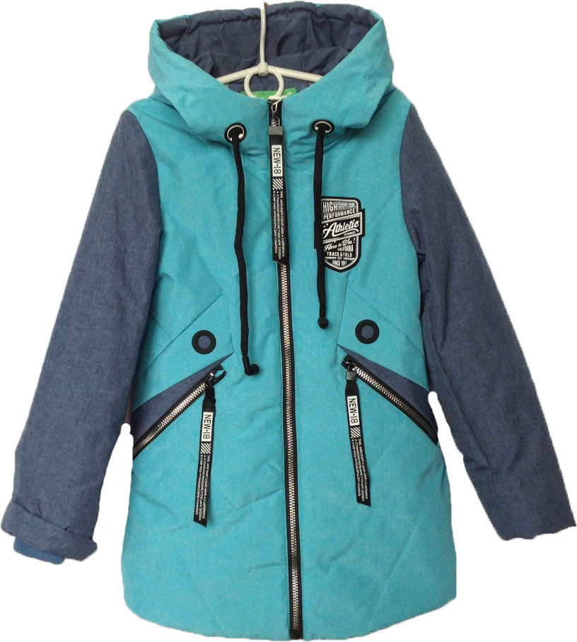 """Куртка подростковая демисезонная """"КУЗЯ"""" #66-398 для девочек. 8-9-10-11-12 лет. Бирюзовая+синий. Оптом."""