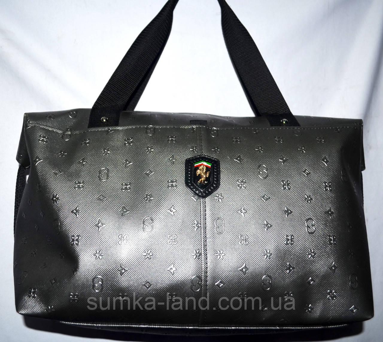 Женская универсальная серебристая сумка Ferrari из искусственной кожи 39*24 см