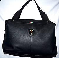 Женская универсальная черная сумка Ferrari из искусственной кожи 39*24 см