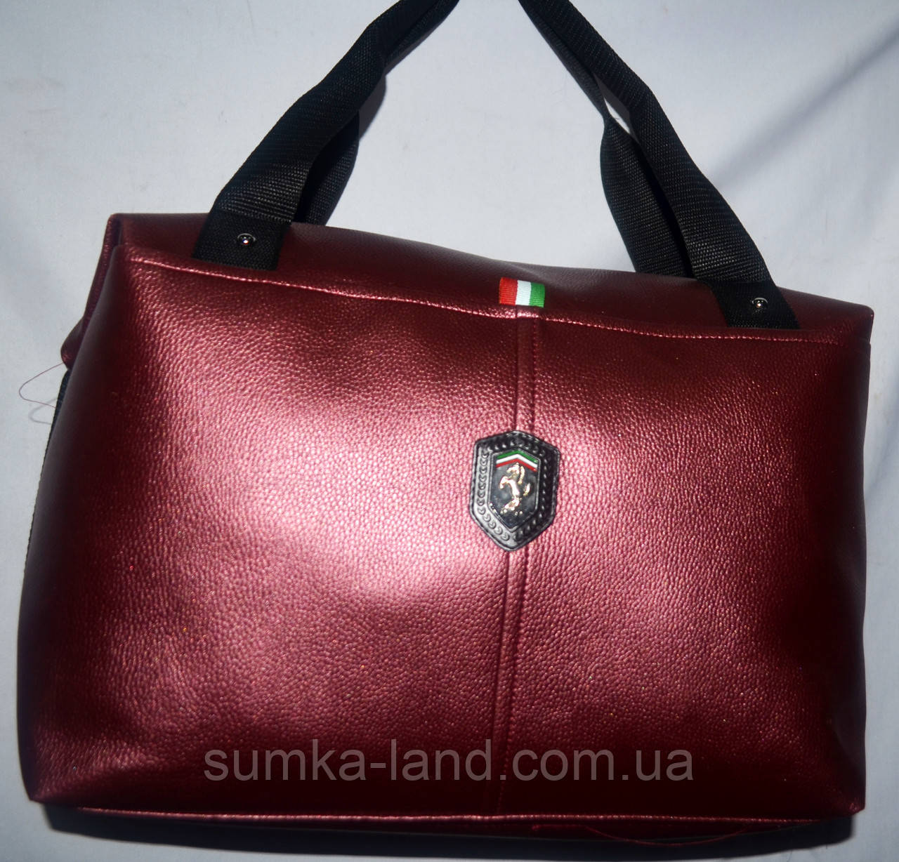 Женская универсальная бордовая сумка Ferrari из искусственной кожи 39*24 см