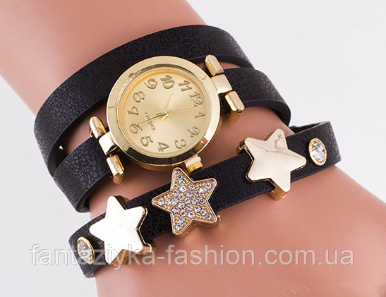 Женские часы браслет черные со звездами