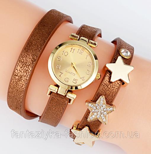 Женские часы браслет коричневые со звездами