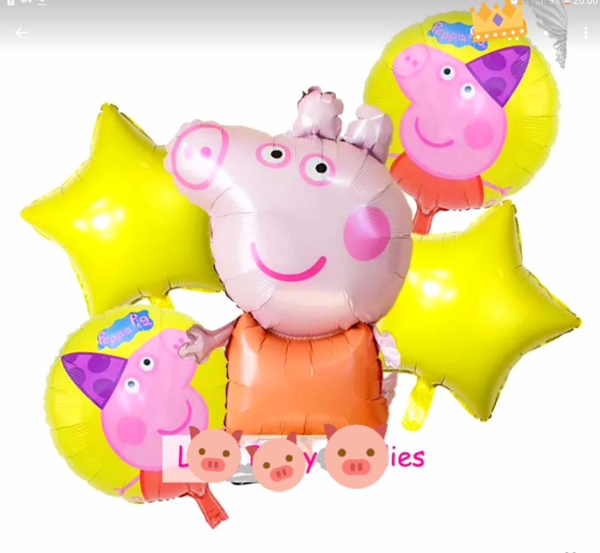 Свинка пеппа  набор 5 шт фольгированных воздушных  шаров