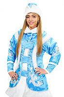 Карнавальный новогодний костюм Снегурочки голубой