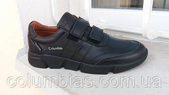 Мужские кроссовки на липучках кожаные