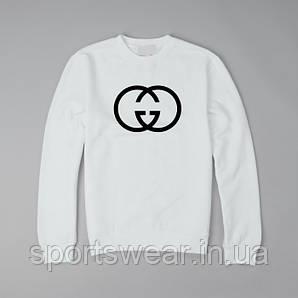 Свитшот Gucci белый с черным логотипом, унисекс (мужской,женский,детский)