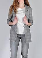 Пиджак женский в клетку серый