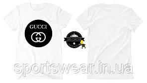 Футболка Gucci белая с логотипом, унисекс (мужская,женская,детская)