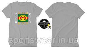 Футболка Gucci серая с логотипом, унисекс (мужская,женская,детская)