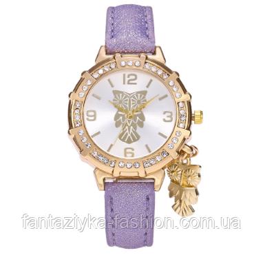 Часы наручные женские фиолетовые с подвеской сова