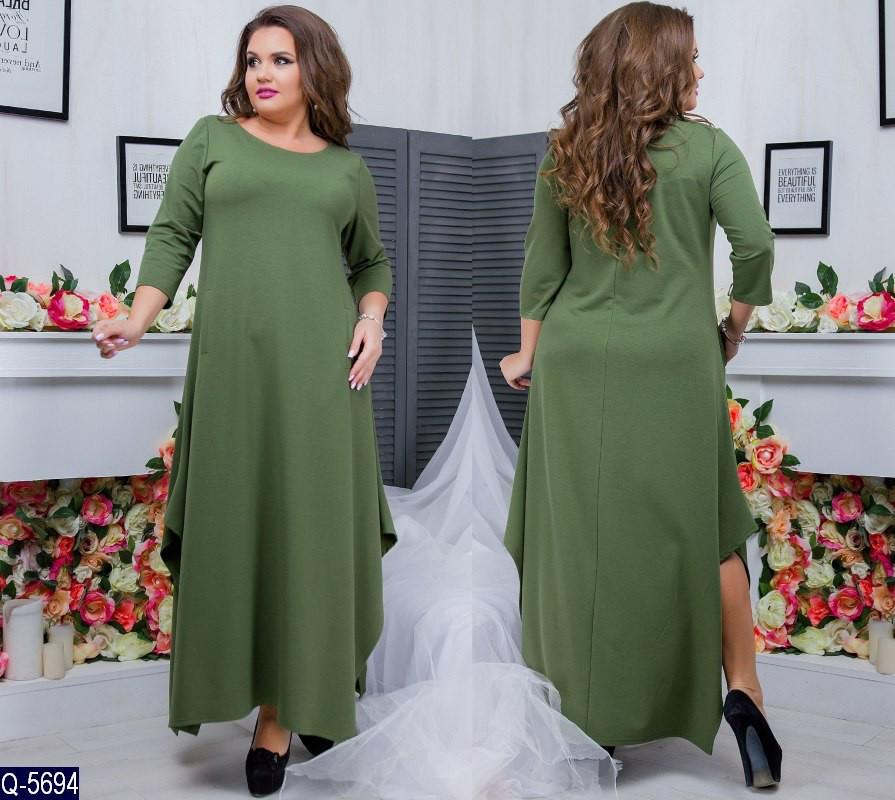Женское длинное платье с трикотажа 46-48, 50-52, 54-56, 58-60, 62-64