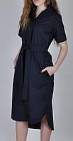 Платье рубашка женское с поясом и карманами синее