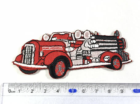 Нашивка пожарная машина цвет красный 95х40 мм, фото 2