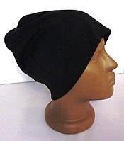 Молодежная трикотажная черная женская шапка