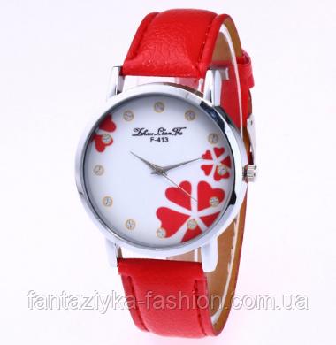 Часы наручные женские красные с принтом цветы