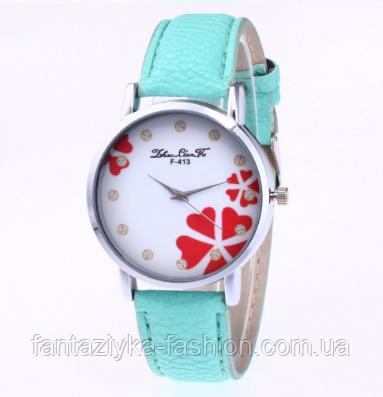 Часы наручные женские зеленые с принтом цветы