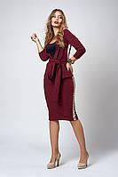 Стильный женский костюм с юбкой бордового цвета