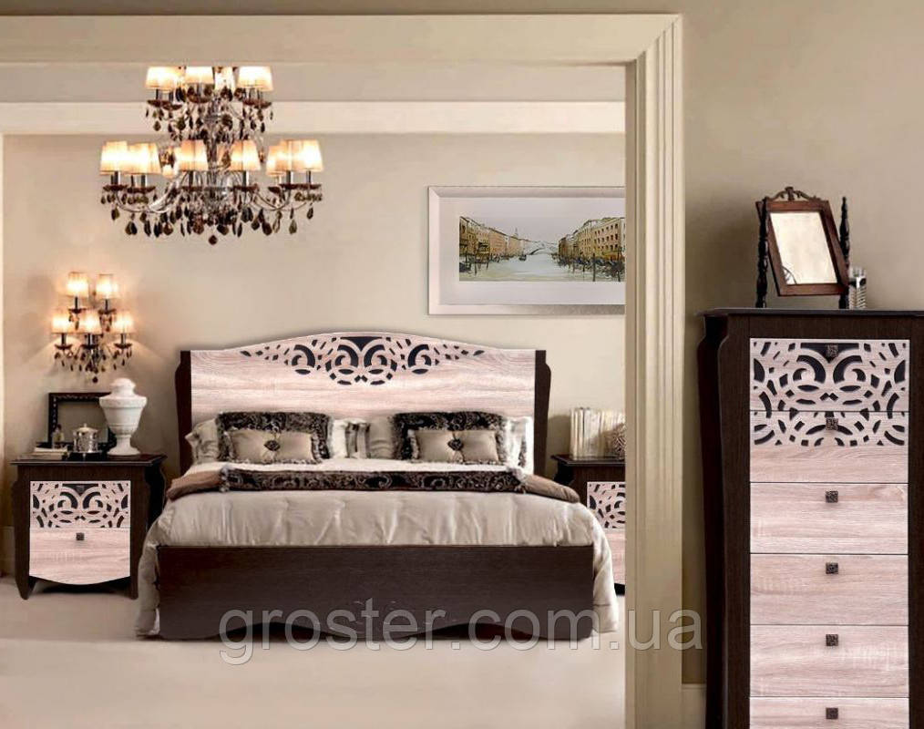модульная спальня гефест двуспальная кровать тумба комод 13 566