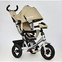 Детский трёхколёсный велосипед Best Trike 7700 В - 5780 бежево-серебристый. Интерактивная фара