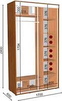 Шкаф-Купе с двумя фасадами 1700х600х2400 Влаби